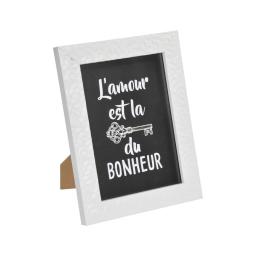 """cadre ps """"clef du bonheur"""" 18*24cm martelé blanc - en display de 12"""