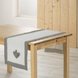 Chemin de table 40 x 140 cm polyester fanny Gris/Blanc