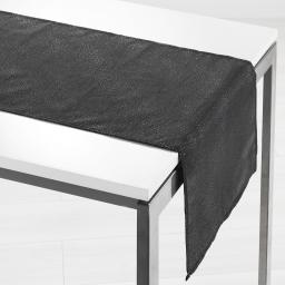 Chemin de table 40 x 140 cm shantung applique scintille Noir