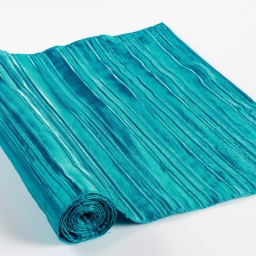 Chemin de table 40 x 140 cm taffetas plisse tafty Bleu