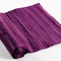 Chemin de table 40 x 140 cm taffetas plisse tafty Prune