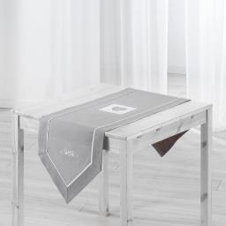Chemin de table 40 x 150 cm polyester/lin amandine Gris