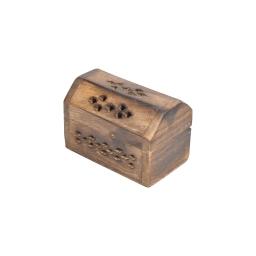 coffre brule cone encens en bois 9.5*5*6cm