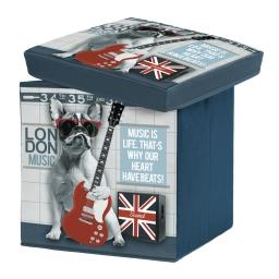coffre de rangement pliable 38 x 38 x 38 cm polyester imprime city dog