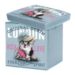 coffre de rangement pliable 38 x 38 x 38 cm polyester imprime girly cat