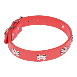 collier avec charms os en simili cuir 55*2.5cm - rouge
