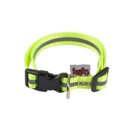 collier reglable pp avec bande reflechissante l30 a 45cm*l16mm - coloris jaune