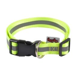 collier reglable pp avec bande reflechissante l45 a 65cm*l25mm - coloris jaune