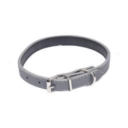 collier simili cuir 30*1.2cm - bicolore gris/noir