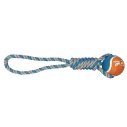 corde gros noeud + balle de tennis h15.5*2.5*2.5cm - 1 coloris bleu/gris
