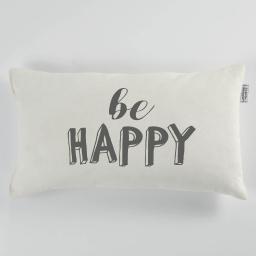 Coussin 30 x 50 cm coton imprime pacifique  happy Naturel