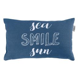 Coussin 30 x 50 cm coton imprime pacifique  smile Indigo