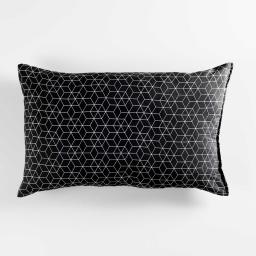 Coussin 30 x 50 cm polycoton imprime optic Noir