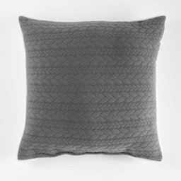 Coussin 40 x 40 cm jersey sherpa tricoline Anthracite