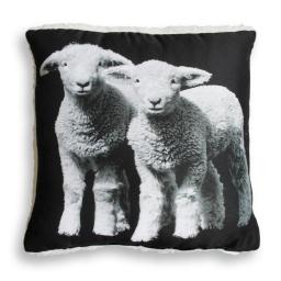 coussin 40 x 40 cm microfibre imprimee/sherpa agneaux