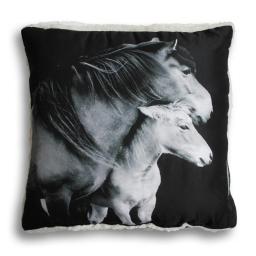 coussin 40 x 40 cm microfibre imprimee/sherpa chevaux