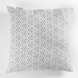 Coussin 60 x 60 cm polycoton imprime optic Blanc