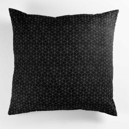 Coussin 60 x 60 cm polycoton imprime optic Noir