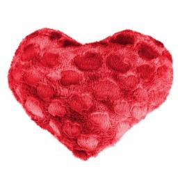 Coussin coeur 40 x 40 cm imitation fourrure coeurs Rouge