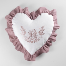 Coussin coeur 40 x 40 cm polyester brode bonheur Rose/Blanc