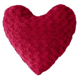 Coussin coeur compresse 40 x 40 cm imitation fourrure himalaya Rouge