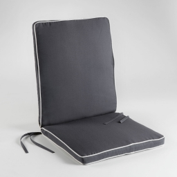 Coussin de fauteuil 90 x 42 x 5 cm polyester bicolore garden Anthracite/Naturel