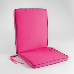 Coussin de fauteuil 90 x 42 x 5 cm polyester bicolore garden framboise/anthracit Framboise/Anthracite