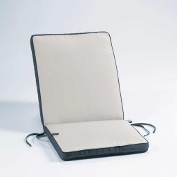 Coussin de fauteuil 90 x 42 x 5 cm polyester bicolore oasis Naturel/Anthracite