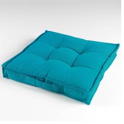 Coussin de sol 40 x 40 x 4 cm coton uni paolo Bleu