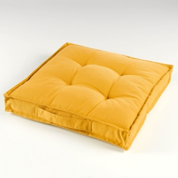 Coussin de sol 40 x 40 x 4 cm coton uni paolo Jaune