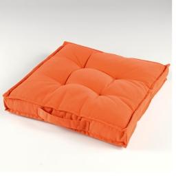 Coussin de sol 40 x 40 x 4 cm coton uni paolo Orange
