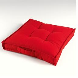 Coussin de sol 40 x 40 x 4 cm coton uni paolo Rouge