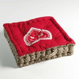 Coussin de sol 45 x 45 x 10 cm coton imprime brode edelweiss Rouge