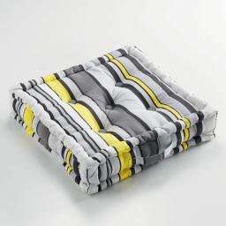 Coussin de sol 45 x 45 x 10 cm coton imprime marina Jaune