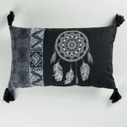Coussin dehous. compr. pompons 30 x 50 cm coton imprime ista  des. place Noir