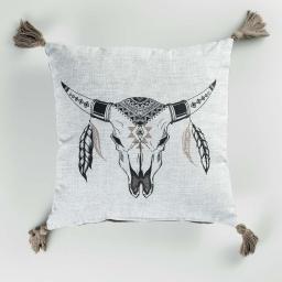 Coussin dehous. compr. pompons 40 x 40 cm coton imp. mohicana  des. place Naturel