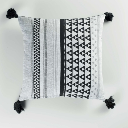 coussin dehoussable compresse pompons 40 x 40 cm coton imprime attica des. place
