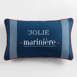coussin dehoussable passepoil 30 x 50 cm coton imprime jolie mariniere