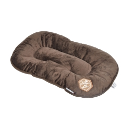 coussin flocon 77cm collection patchy chocolat/taupe