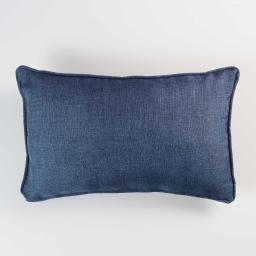 Coussin passepoil 30 x 50 cm chambray uni select Bleu