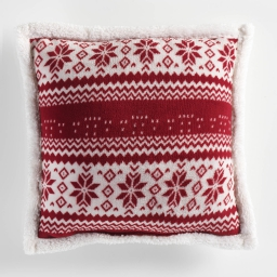 Coussin passepoil 40 x 40 cm coral imprime/sherpa norden Rouge