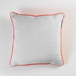 Coussin passepoil 40 x 40 cm coton imprime galactic Gris
