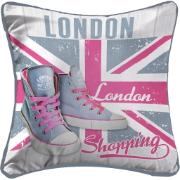 coussin passepoil 40 x 40 cm microfibre imprimee girly london des. place