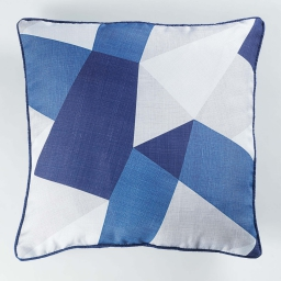 coussin passepoil 40 x 40 cm polyester imprime blue square