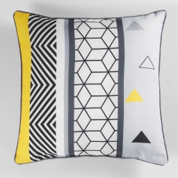 coussin passepoil 40 x 40 cm polyester imprime yellow mix des. place