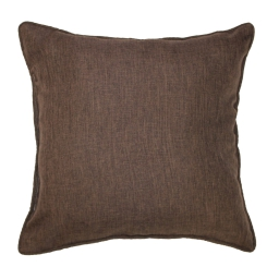 Coussin passepoil 60 x 60 cm chambray uni newton Choco