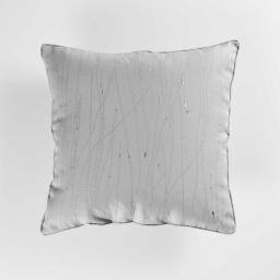 Coussin passepoil 60 x 60 cm polyester applique filiane Gris