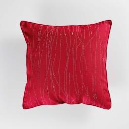 Coussin passepoil 60 x 60 cm polyester applique filiane Rouge