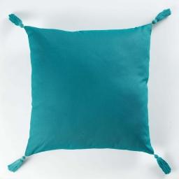 Coussin passepoil +pompons 40 x 40 cm coton uni popsys Bleu