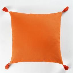 Coussin passepoil +pompons 40 x 40 cm coton uni popsys Orange